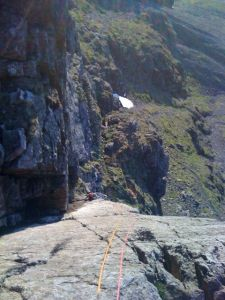 Looking down pitch 2 of Botterill's Slab