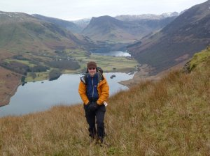 Me with Crummock Water, Buttermere and Fleetwith Pike behind
