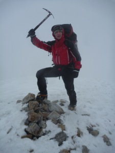 Mark on the summit of Stob Ban