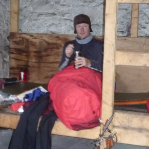 Me enjoying soup in the bothy