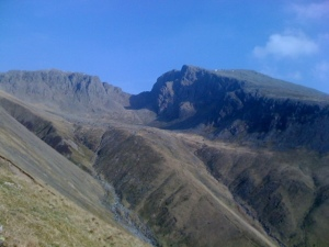 Scafell Pike and Scafell from Lingmell Nose
