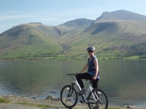 Penny with Lingmell (left), Scafell Pike (centre) and Scafell (right) behind